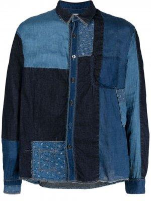 Джинсовая рубашка в технике пэчворк Kapital. Цвет: синий