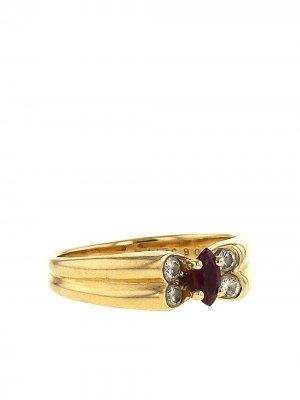 Кольцо 1980-х годов из желтого золота с и бриллиантами рубинами Van Cleef & Arpels. Цвет: золотистый,white,red