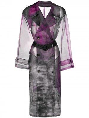 Прозрачный тренч с узором Maison Margiela. Цвет: фиолетовый