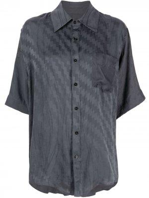 Рубашка с геометричным принтом Marine Serre. Цвет: серый