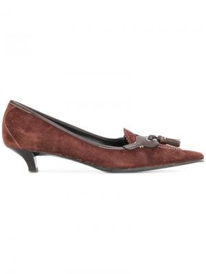 Туфли с заостренным носком Miu Pre-Owned. Цвет: коричневый