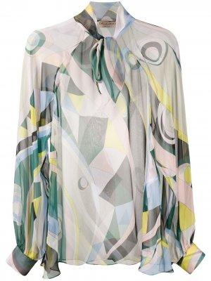 Прозрачная блузка с принтом Occhi Emilio Pucci. Цвет: зеленый