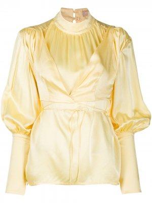 Блузка с рукавами-колокол и воротником-стойкой Materiel. Цвет: желтый