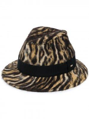 Шляпа федора с принтом Saint Laurent. Цвет: черный