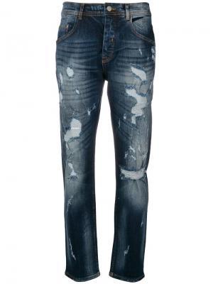 Состаренные прямые джинсы Iceberg. Цвет: синий
