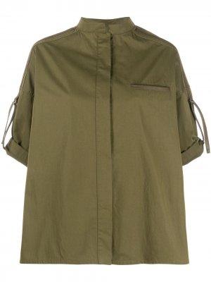 Рубашка с воротником-стойкой Yves Salomon. Цвет: зеленый