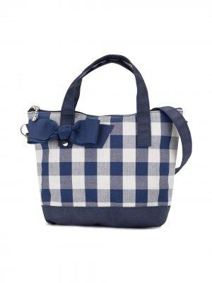 Клетчатая сумка-тоут с бантом Familiar. Цвет: синий