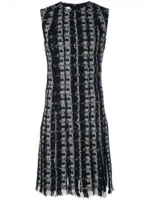 Платье мини с бахромой Oscar de la Renta. Цвет: черный