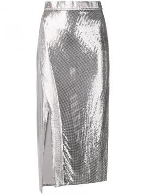 Юбка с пайетками Paco Rabanne. Цвет: серый