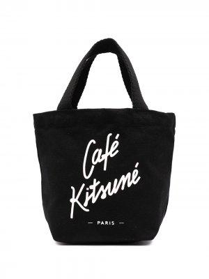 Сумка-тоут с логотипом Maison Kitsuné. Цвет: черный