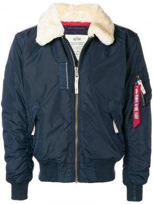 Куртка с воротником из овчины Alpha Industries. Цвет: синий