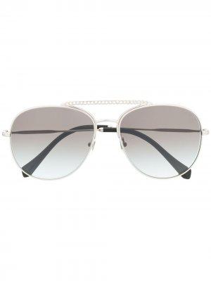 Солнцезащитные очки-авиаторы Miu Eyewear. Цвет: серебристый