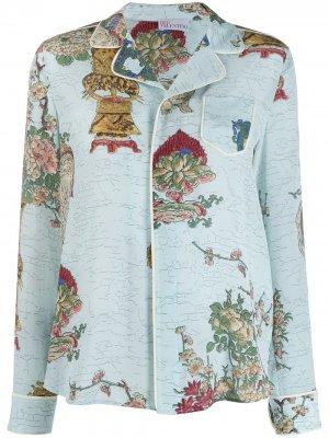 Пижамная рубашка с узором RED Valentino. Цвет: синий