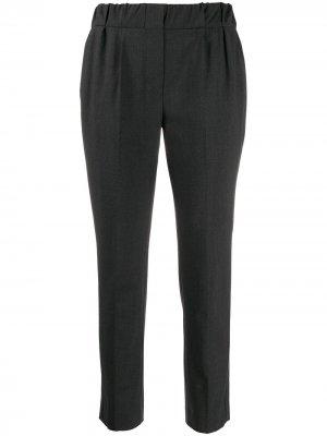 Зауженные брюки с эластичным поясом Brunello Cucinelli. Цвет: серый
