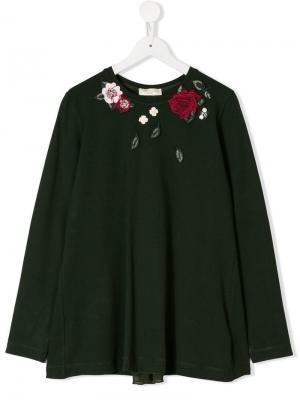 Топ с вышитой розой Monnalisa. Цвет: зеленый