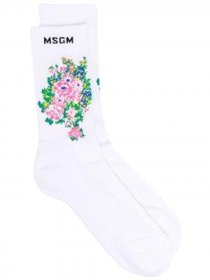 Носки вязки интарсия с цветочным узором MSGM. Цвет: белый