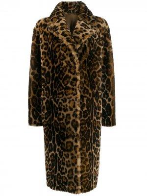 Однобортное пальто с леопардовым принтом Liska. Цвет: нейтральные цвета