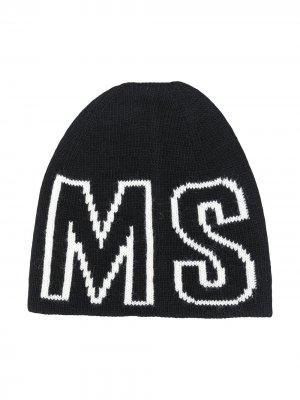 Шапка бини с логотипом Msgm Kids. Цвет: черный