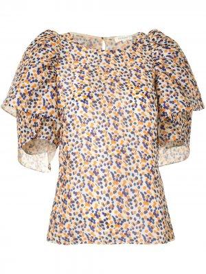 Блузка в горох Delpozo. Цвет: оранжевый