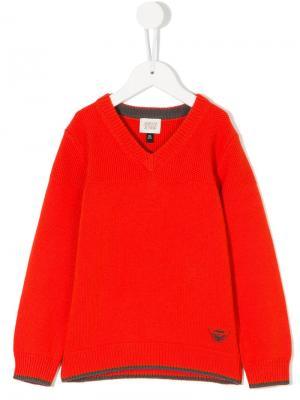Пуловер с V-образным вырезом Emporio Armani Kids. Цвет: красный