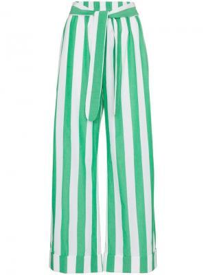 Укороченные брюки в полоску Mara Hoffman. Цвет: зеленый