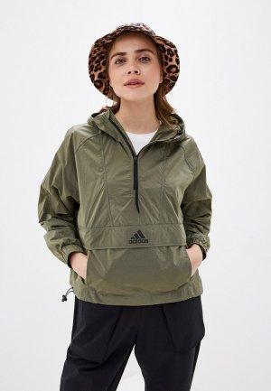 Куртка adidas. Цвет: хаки