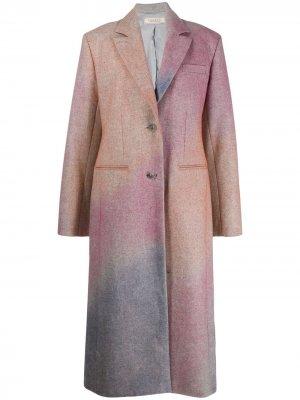 Однобортное пальто с эффектом разбрызганной краски Nina Ricci. Цвет: розовый