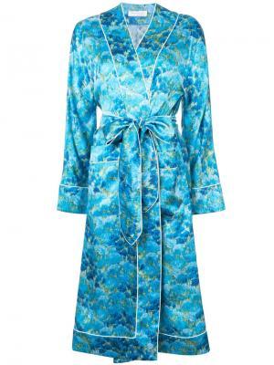 Накидка-халат с поясом на талии Marina Moscone. Цвет: синий