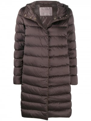 Дутое пальто с поясом Herno. Цвет: коричневый
