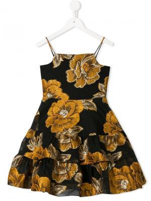 Платье с оборками и вышивкой Little Bambah. Цвет: черный