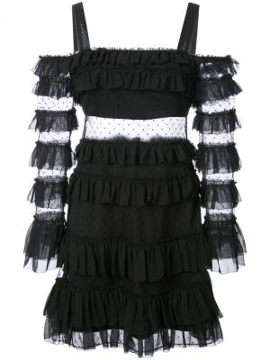 Расклешенное платье с рюшами Alexis. Цвет: чёрный