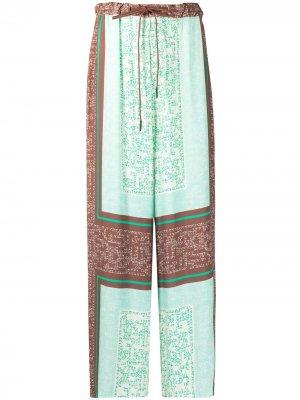 Брюки широкого кроя с кулиской Alysi. Цвет: зеленый