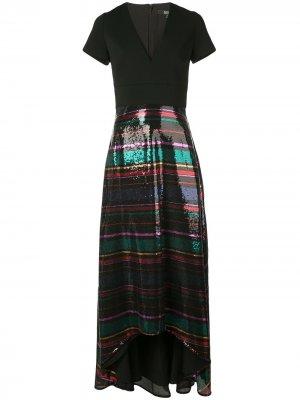 Платье с V-образным вырезом и пайетками Badgley Mischka. Цвет: черный