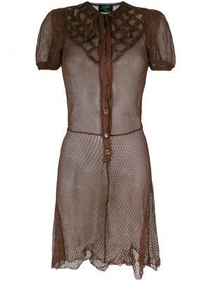 Платье с отделкой Jean Paul Gaultier Vintage. Цвет: коричневый