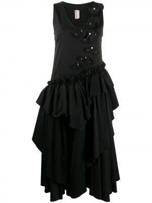 Платье миди с оборками Antonio Marras. Цвет: черный