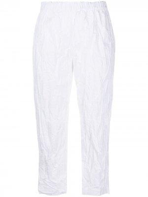 Укороченные брюки с жатым эффектом Daniela Gregis. Цвет: белый