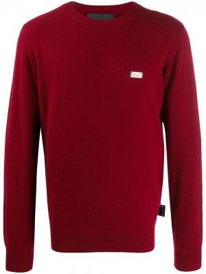 Кашемировый джемпер с логотипом Philipp Plein. Цвет: красный