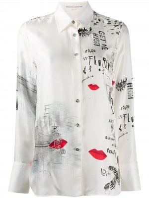 Декорированная рубашка с графичным принтом Ermanno Scervino. Цвет: белый