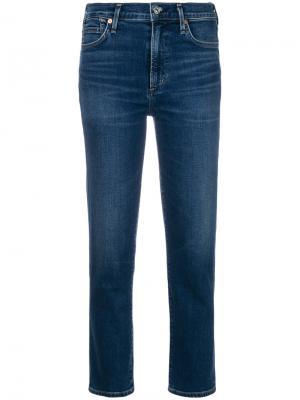Укороченные джинсы-сигареты Cara Citizens Of Humanity. Цвет: синий