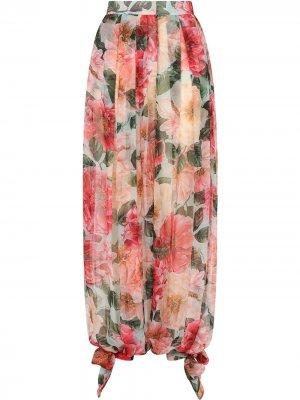 Брюки-шаровары с принтом Camellia Dolce & Gabbana. Цвет: розовый