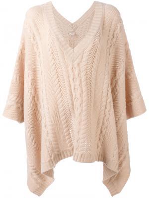 Вязаное пончо Agnona. Цвет: розовый