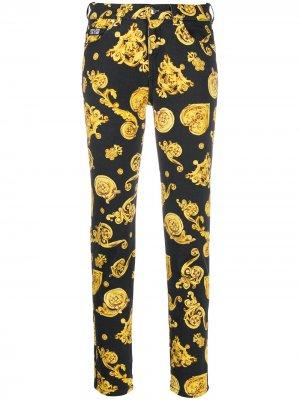 Джинсы кроя слим с принтом Baroque Versace Jeans Couture. Цвет: черный