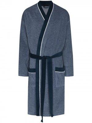 Полосатый халат с поясом Schiesser. Цвет: синий