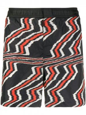 Плавки-шорты с узором зигзаг Missoni Mare. Цвет: черный