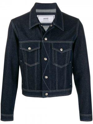 Джинсовая куртка AMI Paris. Цвет: синий