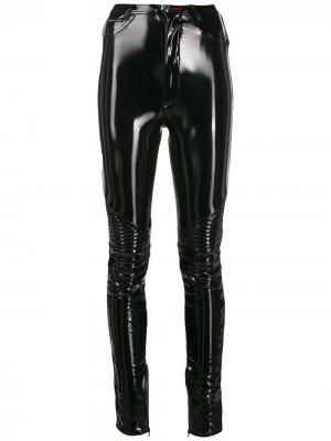 Виниловые брюки скинни Philipp Plein. Цвет: черный