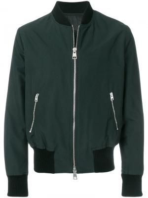 Куртка-бомбер на молнии Ami Alexandre Mattiussi. Цвет: зеленый