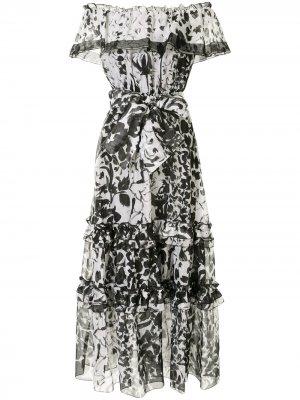 Платье макси с открытыми плечами и принтом Marchesa. Цвет: черный