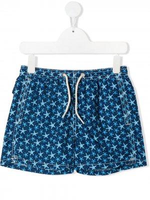 Плавки-шорты Jean Lighting с графичным принтом Mc2 Saint Barth. Цвет: синий