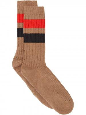 Носки с полосками Burberry. Цвет: коричневый